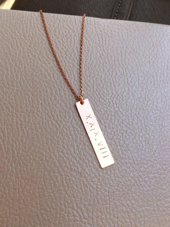 filled link rectangle necklace personalized roman gold date numeral anniversary wedding pendant i bar