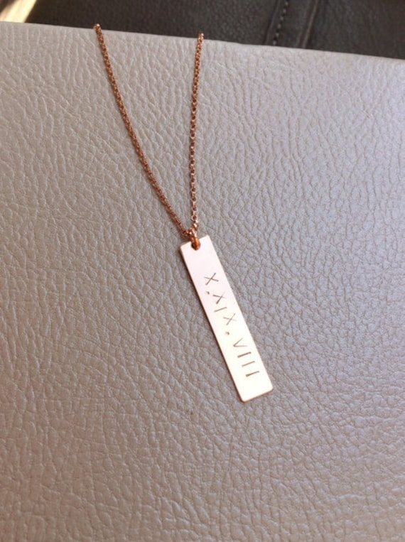 gold numeral necklace nusz collect shop il date custom numbers bar wedding vicjewelry roman