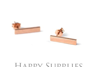 10pcs (5 pairs) Nickel Free - High Quality Rose Golden Brass Earring Post Findings (ZE163-R) Perfect to make Customized Initial Earring