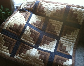 "Quilt throw (""Log Cabin"" style)"