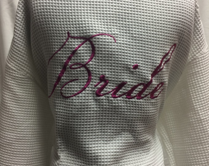 Featured listing image: Bride and Bridal Party Waffle cotton robes customized with embroidery , monogram and/or name