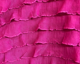 "1"" Fuchsia Pink Ruffles Polyester Spandex Stretch Fabrics Sold by the Yard- Headbands, Skirts, blouses, More Colors Available"