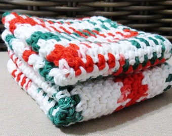 Red, Green and White Crocheted Cotton Wash Cloths Handmade Set of Two, Peppermint, Christmas, Dish Cloths, Bath Accessories