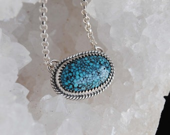 Kingman Spiderweb Turquoise Necklace, Sterling Silver Kingman Spiderweb Turquoise Jewelry