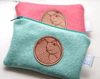 Little squirell woolfelt purse - Mint or Raspberry