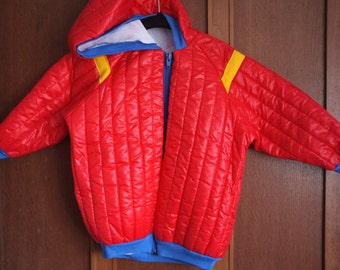 Vintage 1970s 1980s children's blue red yellow padded puffa hooded jacket coat red zip rainbow ringer knitted cuffs Age 2 3 4 years boy girl