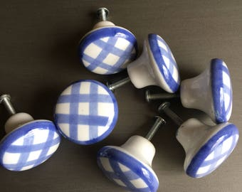 Checkerboard Pull Knob Blue White Checker Board Ceramic 7 Available - #D2311