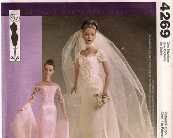 "McCall's 4269 Tyler Wentworth Gene 16"" Fashion Doll Clothes Evening Gown Wedding Dress Bridal UNCUT"