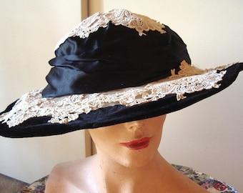 All Original Edwardian Era Glamorous Velvet / Venice Lace  Hat Item #725 Hats