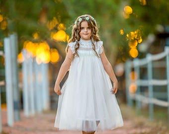 Alexandra - flower girl dress ivory flower girl dress girls lace dress lace dress toddler lace dress boho flower girl dress flower girl lace