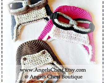 CROCHET PATTERN -  Aviator Pilot Hat PDF Pattern Sizes Newborn to Adult Boutique Design - No. 34 by AngelsChest