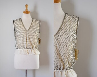 60s Top/60s Beaded Top/Vintage 60s Top/Vintage Blouse/Mad Men/Beaded Top/Formal Top/Evening Blouse/Trophy Top/Victoria Royal/Beige/Small/NOS