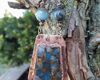 Aqua Quartz Gemstone Copper Necklace