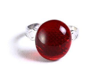 Red glass adjustable silver ring petite cocktail ring OOAK (682)