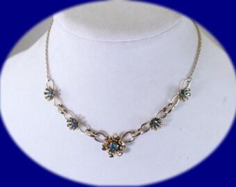 Vintage Necklace Rhinestone Necklace Blue Rhinestone Necklace Wedding Necklace Costume Jewelry Vintage Jewelry Boho Necklace Bridal Necklace
