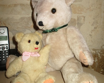 Set of 2 old bear, 40 and 21 cm, articulated, in very good condition Old Teddy Bear vintage