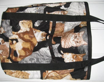 Cat Tote Bag Black and Brown, White and Gray Kitty Cats