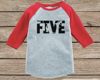 Dinosaur Birthday Shirt - Boys Fifth Birthday Dino Tshirt - Dino Birthday Shirt - Red Raglan Dinosaur 5th Birthday Shirt - Dino Five Shirt
