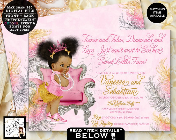 Pink Gold & Silver baby shower invitation, tiaras tutus diamonds pearls vintage invites, Afro Puffs, 7x5 Double Sided. Gvites #TIAACP-006GS