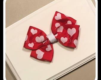 Valentine's Day Hair Bow, Hearts Bow, Simple Hair Bow, Pinwheel Hair Bow, Elastic Headband