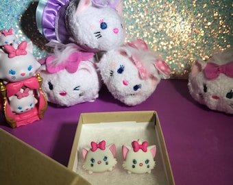 SALE // Marie Tsum Tsum Stud Earrings // Aristocats Inspired // DisneyBound Jewelry / Ready to Ship Gifts & Stocking Stuffers for Cat Lovers