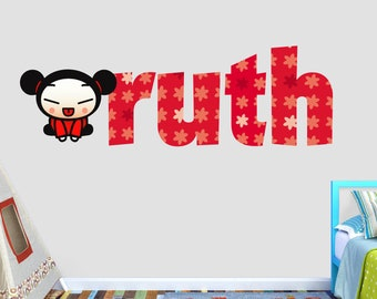 Pucca Custom Name 3D Personalized Wall Decal Sticker - Kids Wall Decor - Art Vinyl Wall Decal - VIC85