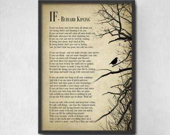 If by Rudyard Kipling Typography Print - Inspirational Poster - Student Wall Art Poster - Dorm Decor - Poetry Wall Art Decor - Gift for Him