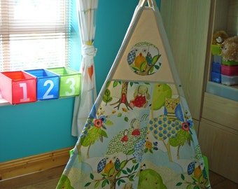 Teepee, Kids Teepee Ireland, Toddler Teepee,  Woodlands, Animals, Multicolor, Tipi, Tepee, Large Teepee, Wigwam,  100% Cotton Canvas