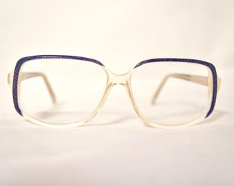 Vintage 1970s Rounded Square Eyeglass Frames in Deep Blue/Cream, New Old Stock