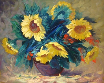 Sunflowers(80x100sm size, 700dollar, oil painting, roled in the tube, modern art)
