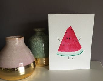 A6 handpainted watermelon card and envelope