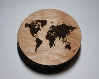 World map coasters - Set of 4