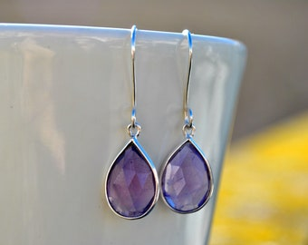 Amethyst Earrings, Sterling Silver, Violet, Royal Purple, Teardrop Dangle Earrings, Birthstone Earrings, Gemstone Jewelry, Gift for Women