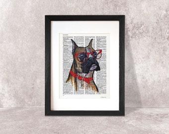 Boxer dog print-Funny boxer dog print-hand-painted dog print-dog print-nerdy dog print-dictionary boxer print-custom dog print-NATURA PICTA