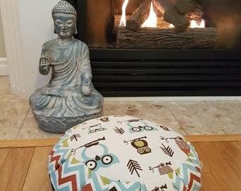 Meditation Cushion-OWLS, OWLS, OWLS- Zafu