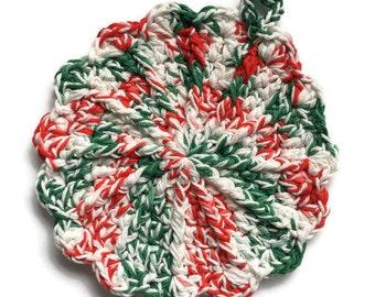 Handmade crocheted Christmas pot holder, trivet, knit pot holder, red white and green pot holder