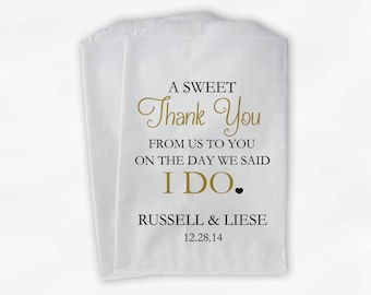 Wedding Candy Buffet Treat Bags - A Sweet Thank You Black & Gold Personalized Favor Bags with Bride and Groom's Names and Date (0085)