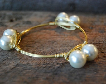 Large Pearl Wire Wrapped Bangle