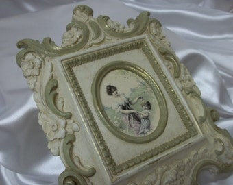 Antique SyrocoWood Victorian Picture Frame Painted Ornate Design Mother and Daughter