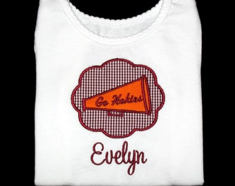 Custom Personalized Applique Gingham Cheer MEGAPHONE Patch and NAME Shirt or Bodysuit - Maroon and Orange Team Colors - Or Choose Colors