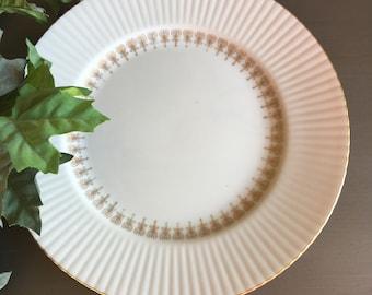 22K Gold Regal Dinner Plates Fine China of Japan Ribbed Rim Vintage Set 6 ~ #M2033