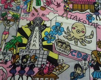 Kawaii skirt with Octopus, Geisha,and Japanese treats