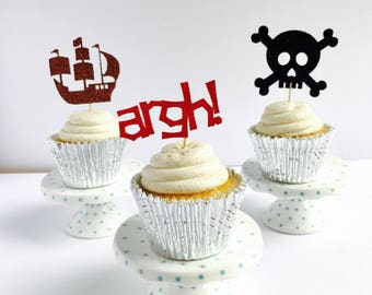 Pirate Cupcake Toppers/ Pirate party cupcake topper/ pirate birthday/ set of 12