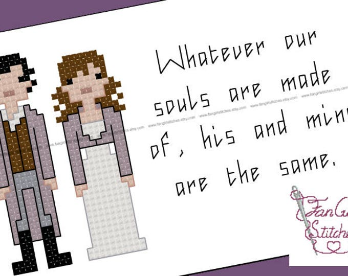 Wuthering Heights Bronte themed Cross Stitch - PDF pattern - INSTANT DOWNLOAD