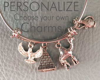 Walk Like an Egyptian Customize silver bangle, Inspired by charm bracelet Your Own Silver Bracelet Charms, Personalized Gift, Egypt, Pyramid