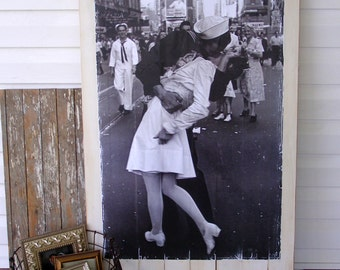 V Day Kiss Poster Mounted and Distressed