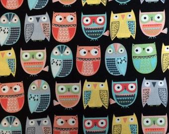 Timeless Treasures FUN OWLS (BLACK) - 100% Premium Quality Cotton Fabric-Per 1/2 Yard