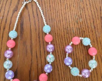 Pastel Easter Necklace and/or Bracelet (Mint, Coral, Lavender)
