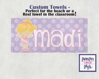Custom Nap Towels - Personalized Rest Towels, Monogrammed Nap Mat - Preschool Nap Towel - Kindergarten Rest Towel