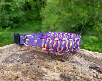 """Custom 1 1/8"""" Strong Biothane & Paracord Adjustable Dog Collar, Choose Your Colors, Dog Lovers Gift, Paracord and Vegan Leather Dog Collar"""